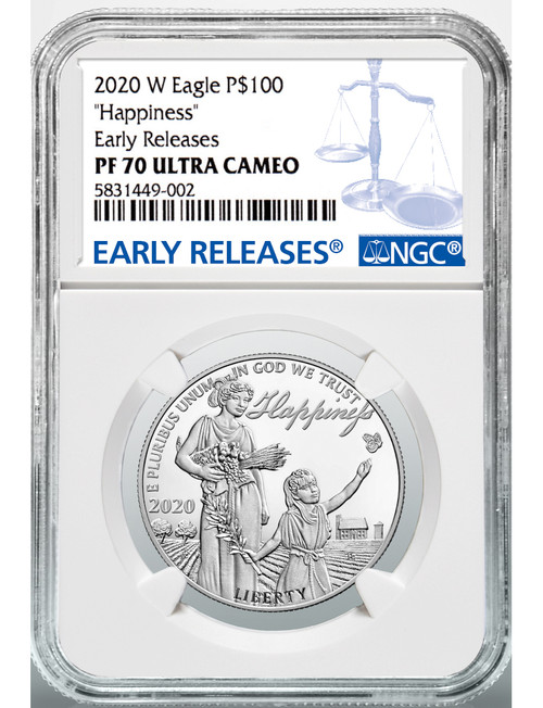 2020 W $100 Proof Platinum Eagle Happiness NGC ER PF70 Ultra Cameo