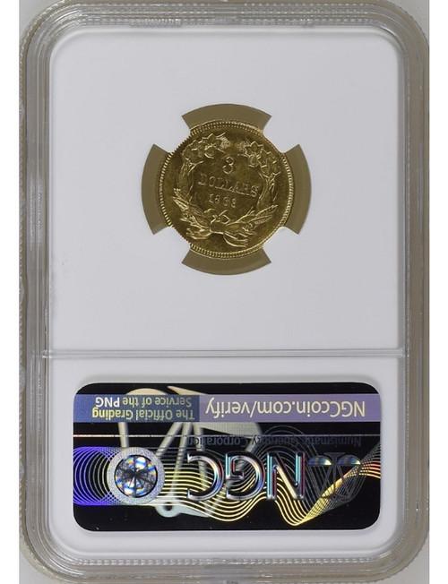 1863 $3 Three Dollar Gold Coin NGC AU50