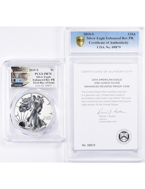 2019-S Enhanced Reverse Proof Silver Eagle PCGS PR70 FDOI Trolly Label with COA 13003
