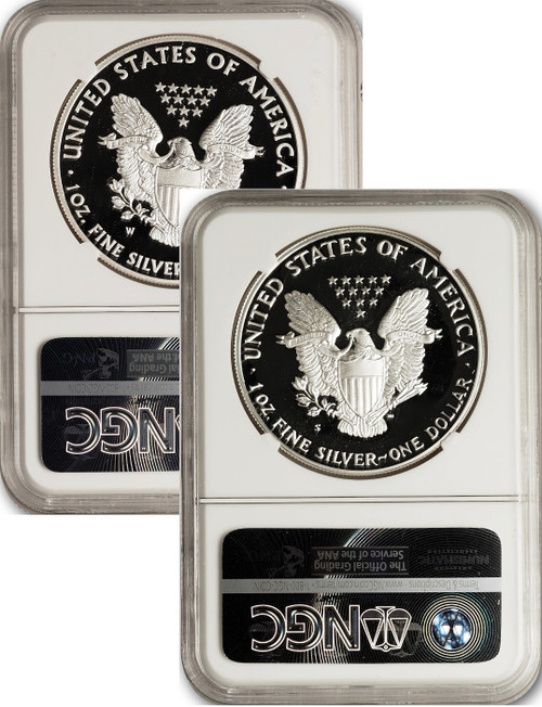 1986 and 2020 $1 Proof Silver Eagles NGC PF70 Ultra Cameo John Mercanti Signed