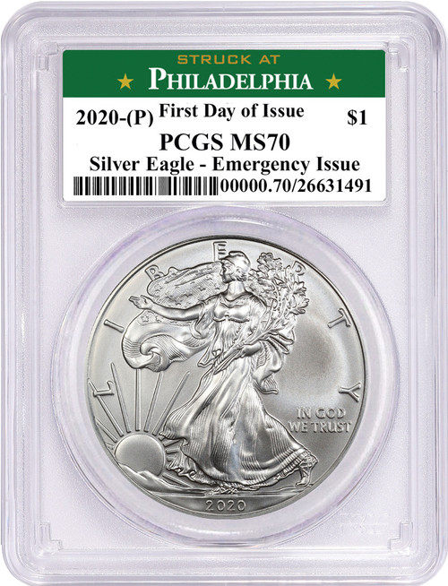 2020 (P) $1 American Silver Eagle PCGS MS70 Emergency Issue FDOI STRUCK AT Philadelphia Label
