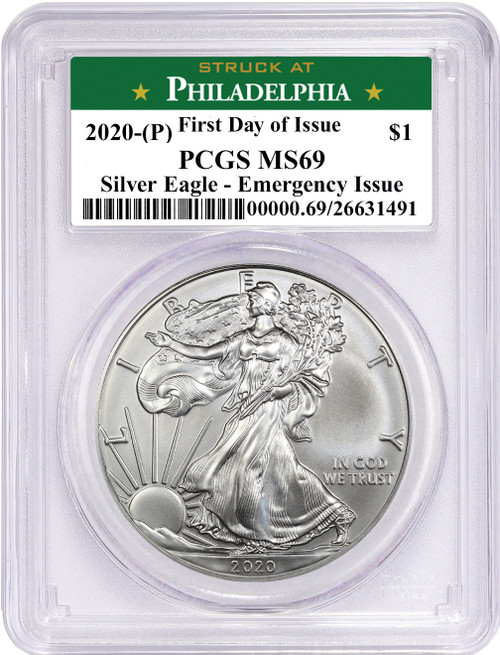 2020 (P) $1 American Silver Eagle PCGS MS69 Emergency Issue FDOI STRUCK AT Philadelphia Label