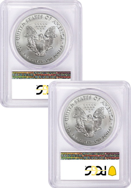 Pair of 2020 (P) $1 American Silver Eagles PCGS MS70 / MS69 Emergency Issue FDOI STRUCK AT Philadelphia Labels