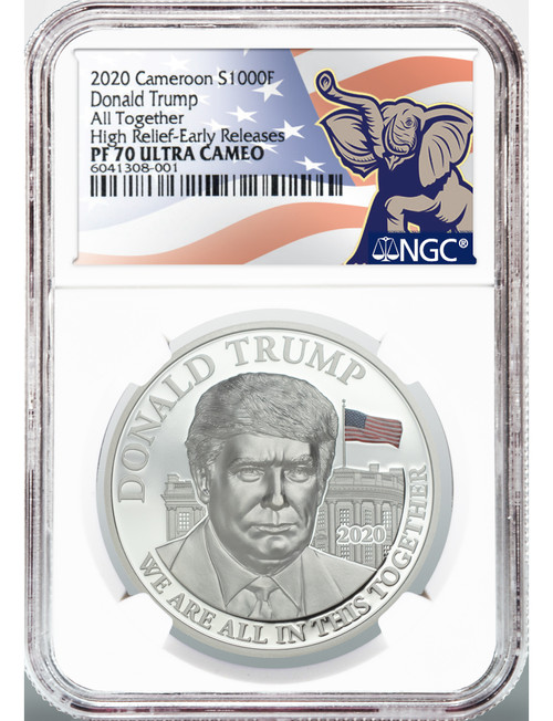 2020 Silver 1 oz Donald Trump High Relief Early Releases NGC PF70 Ultra Cameo Coin