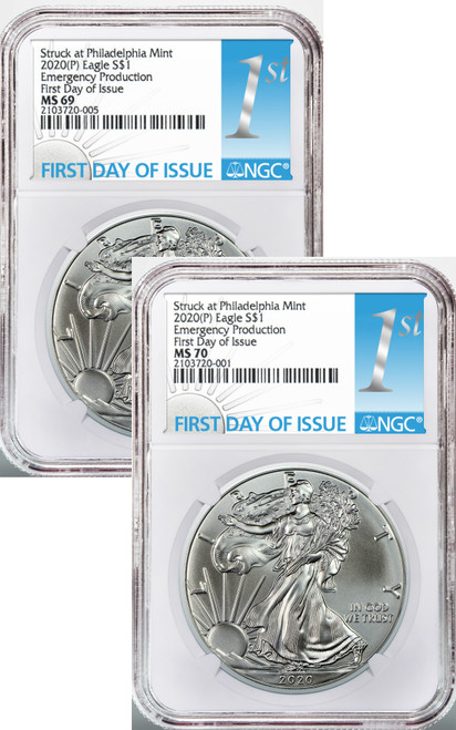 Pair of 2020 (P) $1 American Silver Eagles NGC MS70 / MS69 Emergency Production 1st Day Label