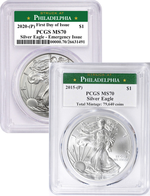 2015-P 2020-P Silver Eagles Philadelphia Mint Label PCGS MS70 Key Date Set