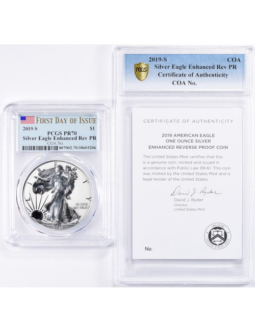 2019-S Enhanced Reverse Proof Silver Eagle PCGS PR70 FDOI COA