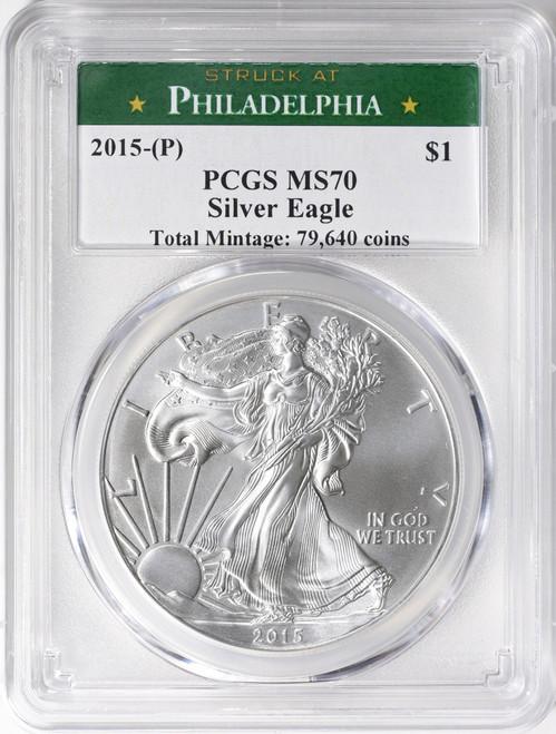 2015-P Silver Eagle Philadelphia Mint Label PCGS MS70 Cert 38550932