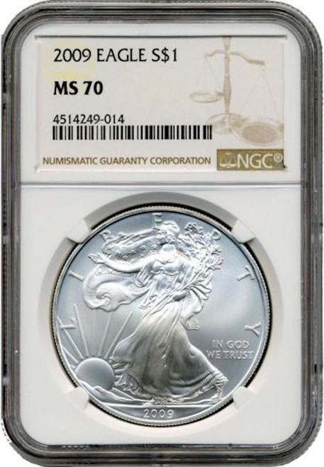 2009 $1 American Silver  Eagle NGC MS70