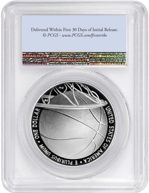 2020-P $1 Basketball Hall of Fame Proof Silver Dollar Flag FDOI PCGS PR70DCAM
