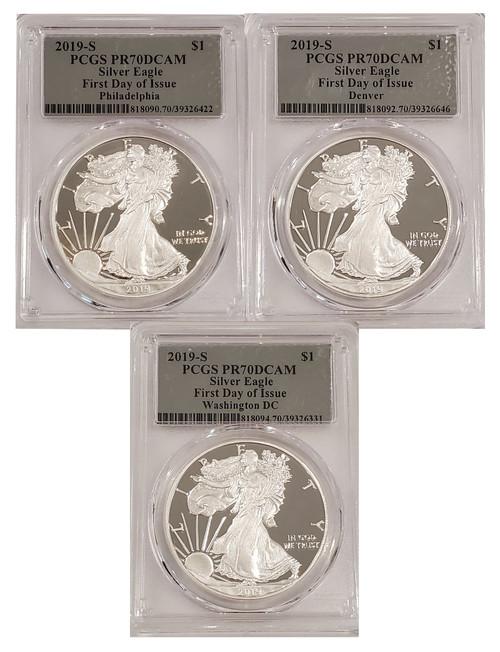 2019-S American Silver Eagle 3-Coin Set FDOI PCGS PR70DCAM