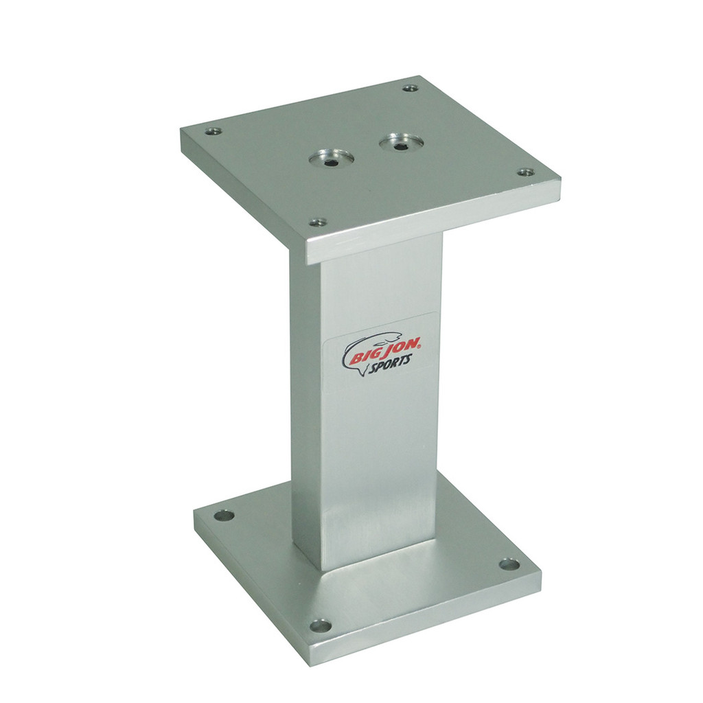"""If you need to add height from your mounting surface to get the right location for your downriggers or rod holders, Big Jon's 6 inch """"Pedestal Mounting Base"""" is an easy way to mount any Big Jon product that has a 4 in. x 4 in. base."""