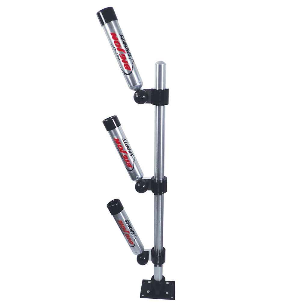These Triple Multi-Set rod holders are mounted on a 36 inch mast with a heavy-duty aluminum base. The mast can be rotated 90 degrees to four locking positions or easily removed for storage.