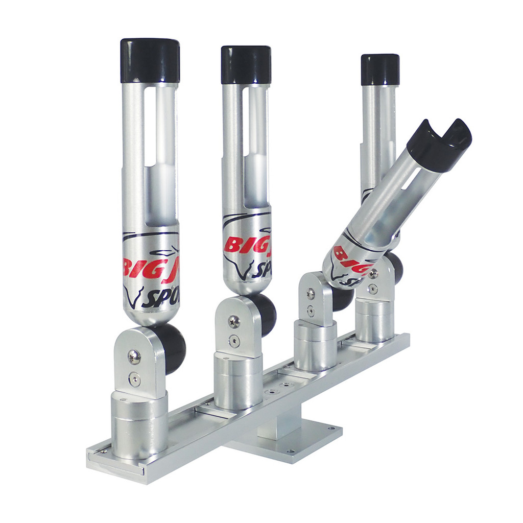 "Big Jon's Quad ""Quik-Draw"" Rod Holder Set is one of the newest rod holder designs on the market. It has been designed to allow the rod handle to clear the rod holder more quickly than other rod holder designs."