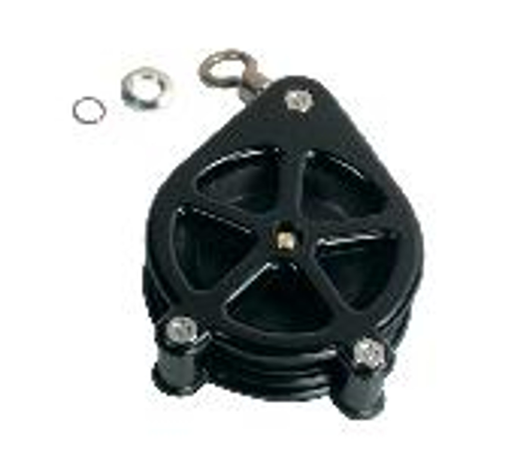 5 spoke tip pulley with 12/0 swivel, retainer and retainer ring. Mounts to end of the downrigger boom.