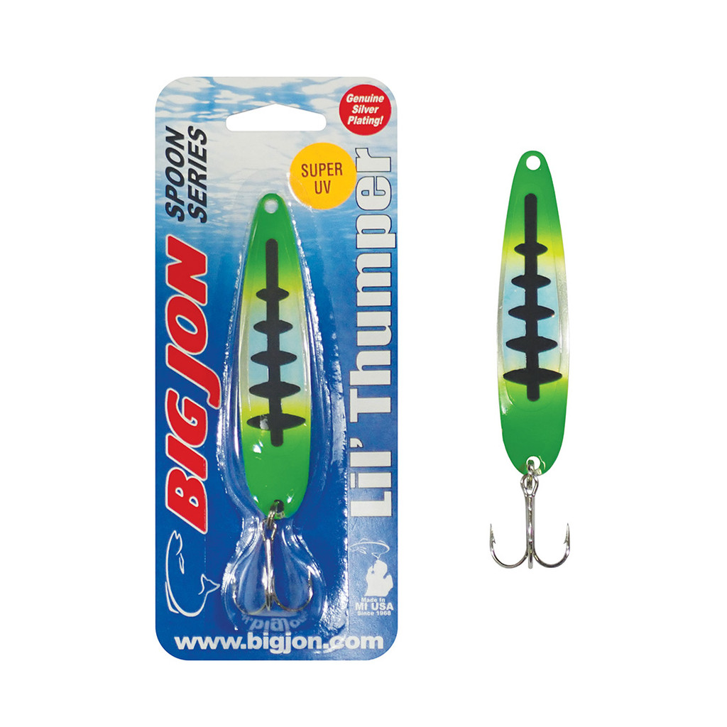 "The Lil' Thumper is a 3-1/2 inch by 13/16 inch trolling spoon that is a proven tournament winner! The ""Cosmo"" is a Green, Yellow and Black Ladderback color pattern."