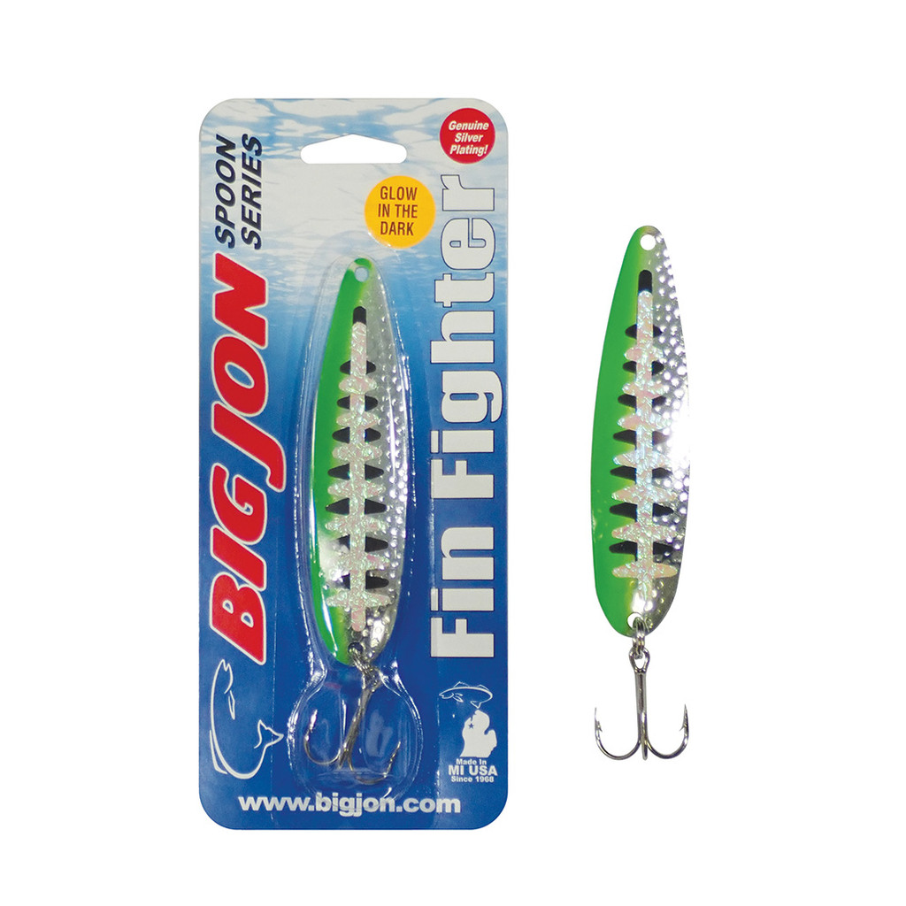 "The Fin Fighter is a 4-1/4 inch by 1 inch trolling spoon that is a proven tournament winner! The ""Natural Born Killer"" is a Silver and Green Ladderback color pattern."