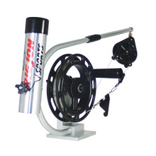 """In the early years of downrigger fishing, the """"Big Water Manual"""" established itself as a standard for downriggers that were to be fished straight back behind the transom. Loaded with handy features, the Big Water Manual has as standard equipment: a single rod holder mounted to the 20 inch flexible boom, and a Big Jon line release. The large, 8 inch reel makes retrieving the cannonball fast and easy. The bright Silver finish will make your boat shine."""