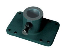The Rod Holder Tree Mounting Base is a billet aluminum base that accepts Multi-Set rod holder trees. The latch pin adjust the tree to four position.  Before Ordering: Measure your mast tube at the base with a pair of calipers (Mast tube diameters may vary). Then call to place your order (231) 275-1010. NOTE: This Base will not work on older Rod Holder Tree Masts that have the indexing holes drilled into the Silver tree tube.