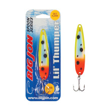 """The Lil' Thumper is a 3-1/2 inch by 13/16 inch trolling spoon that is a proven tournament winner! The """"Clutch's Touch"""" is a Gold and Green Froggy color pattern on Gold Plating."""