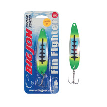 "The Fin Fighter is a 4-1/4 inch by 1 inch trolling spoon that is a proven tournament winner! The ""Cosmo"" is a Green, Yellow and Black Ladderback color pattern."