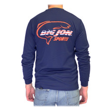 Navy Long Sleeve w/ American-Made Logo - 100% Poly Wicking Knit