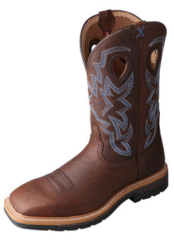 Twisted X Mens Brown Lite Weight Steel Toe Western Work Boot Footwear