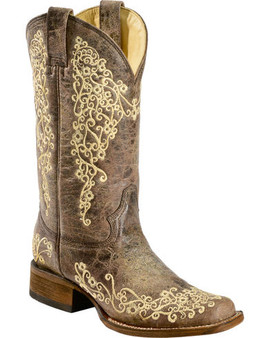 Corral Brown Crater Embroidered Cowgirl Boots - Square Toe A2663