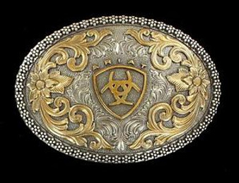 Ariat Western Belt Buckle Oval Filigree Shield Berry Edge Silver Gold A37005