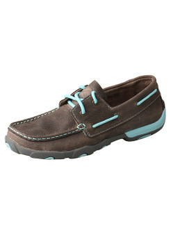Twisted X Women's Driving Moccasins – Grey/Light Blue