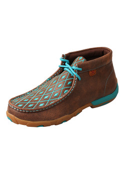 Twisted X Women's Driving Moccasins – Brown/Turquoise