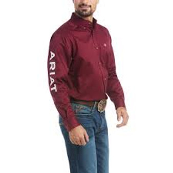 Ariat® Men's Team Logo Burgundy & White Long Sleeve