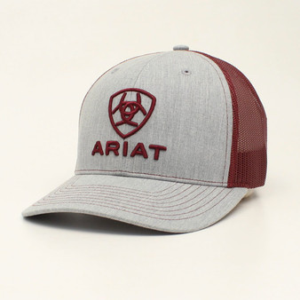 Ariat Gray and Burgundy Mesh Cap