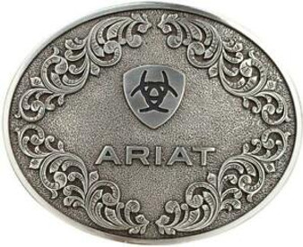 Ariat Western Mens Buckle Oval Logo Silver A37012