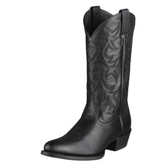 Ariat Mens Heritage Western R Toe Black Deertan Boots