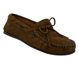 Mens Minnetonka Dusty Brown Rubber Sole Moccasins