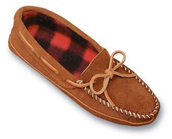 Mens Brown Suede Minnetonka Moccasin Fleece Lined