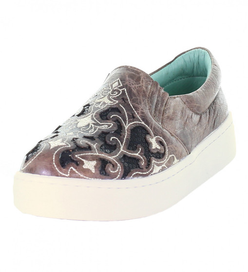 Corral Ladies Brown with Black Glitter Inlay Embroidered Sneaker