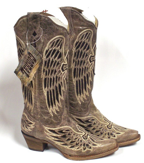 Corral Womens Brown Black Sequin Wing and Cross Boot