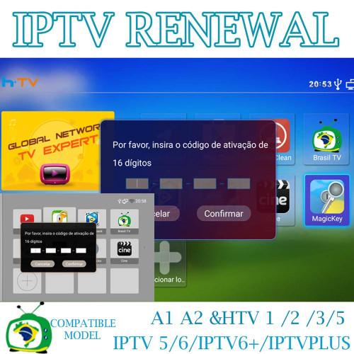 Codigo de renovacao 16 digitos  HTV 1 - 2 - 3 - 5 - 6 - A1  A2  A3 Brazil Box A2 - IPTV 5 e 6/ IPTV PLUS/ IPTV 8 / Super Brazil Tv - Todos os aparelhos que usam o aplicativo Brazil Tv Novo***