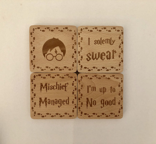 Laser Engraved Harry Potter Marauders Bamboo Coasters 4-Piece Set