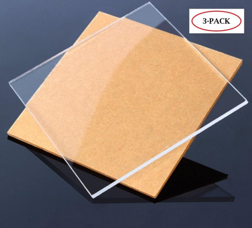 "Clear Cast Acrylic Plexiglass Sheets 12"" x 12"", [1/8"" Thick (3mm)] - [3 Pack]"