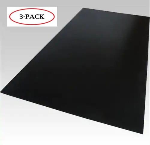 "Black Cast Acrylic Plexiglass Sheets 12"" x 24"", [1/8"" Thick (3mm)] - [3 Pack]"