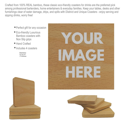 YOUR DESIGN - WOODEN COASTER - 1 Design, 4 Coasters UPLOAD YOUR IMAGE BELOW - Custom Fee included!