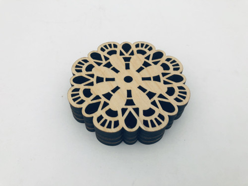DAU Laser Engraved Geometric Patterns Baltic Birch Coasters 4-Piece Set