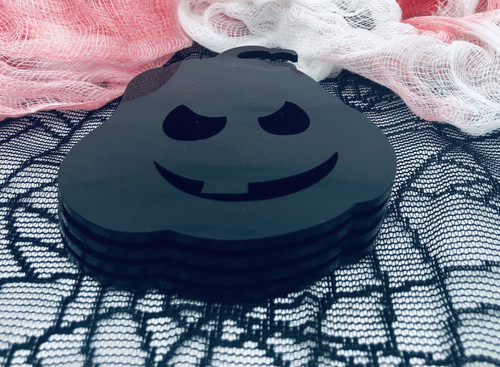 DAU Laser Cut Halloween Pumpkins Acrylic Coasters 4-Piece Set