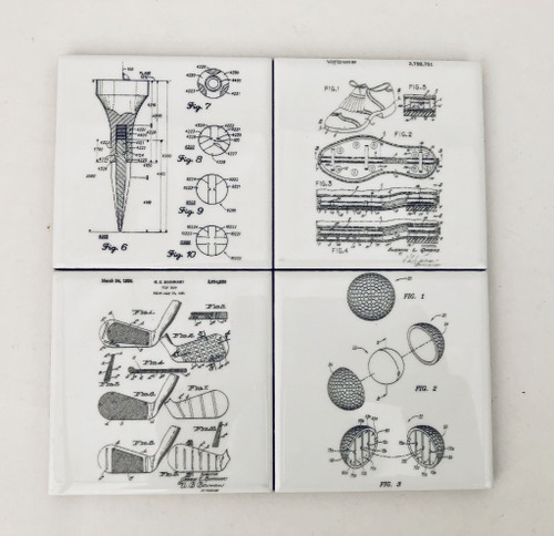 D&U Laser Engraved Golf Patents Ceramic Coasters 4-Piece Set