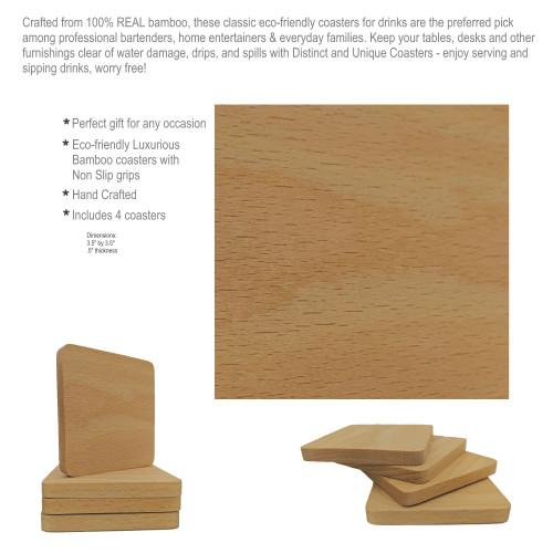DAU Laser Engraved Stoner Characters Natural Wood Coasters 4-Piece Set