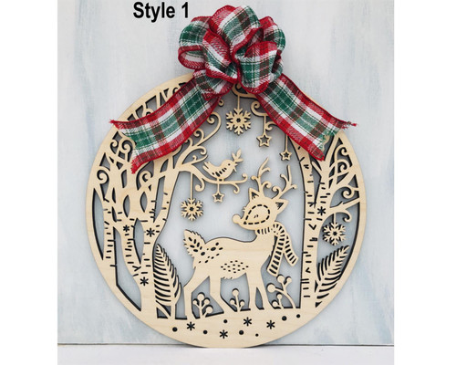 DAU Laser Engraved Reindeer Wood Cutout Door Hanger Christmas Ornament