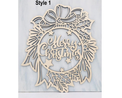 DAU Laser Engraved Christmas Themed Door Hanger Wood Cutout Ornament